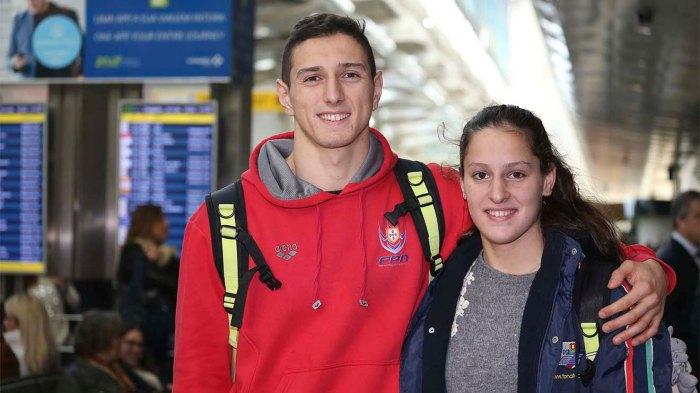Chegada ao aeroporto da Diana Durães e Miguel Nascimento