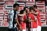 Benfica's Andre Almeida (C) celebrates with his teammates after scoring a goal against Boavista during their Portuguese First League soccer match, held at Luz stadium in Lisbon, Portugal, 04 July 2020. MANUEL DE ALMEIDA/POOL/LUSA